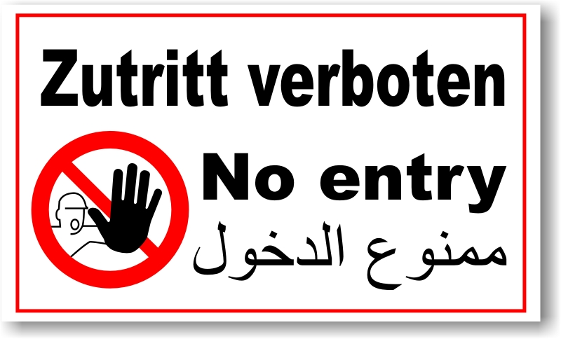 verbotsschild englisch arabisch blech verbot schild zutritt verboten stop 1 ebay. Black Bedroom Furniture Sets. Home Design Ideas